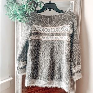 Anthropologie fuzzy winter sweater!
